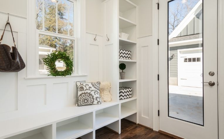 mudroom entryway storage area